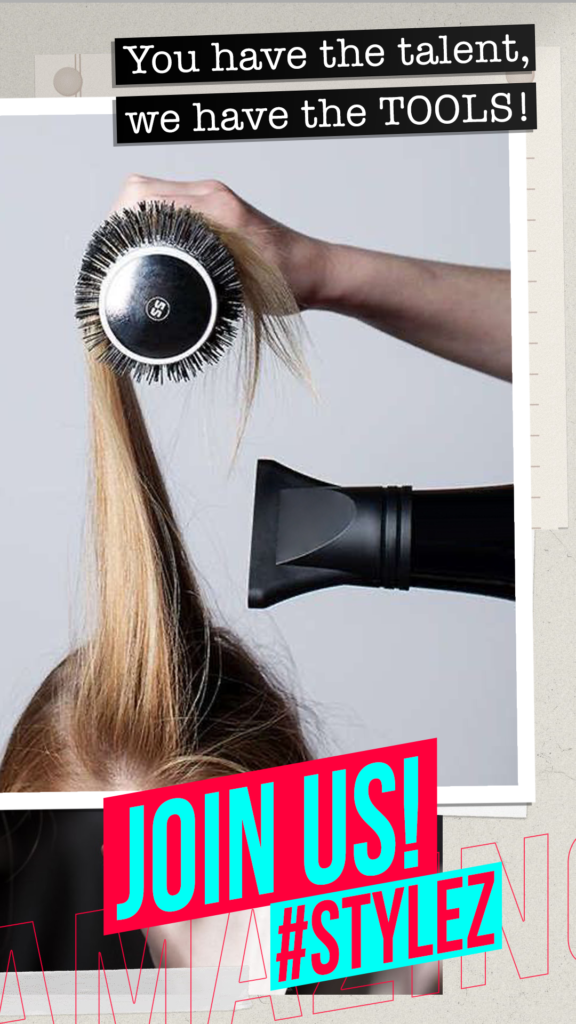 hairdresser drying hair in the salon with blow dryer visible and stylist hands creating trend