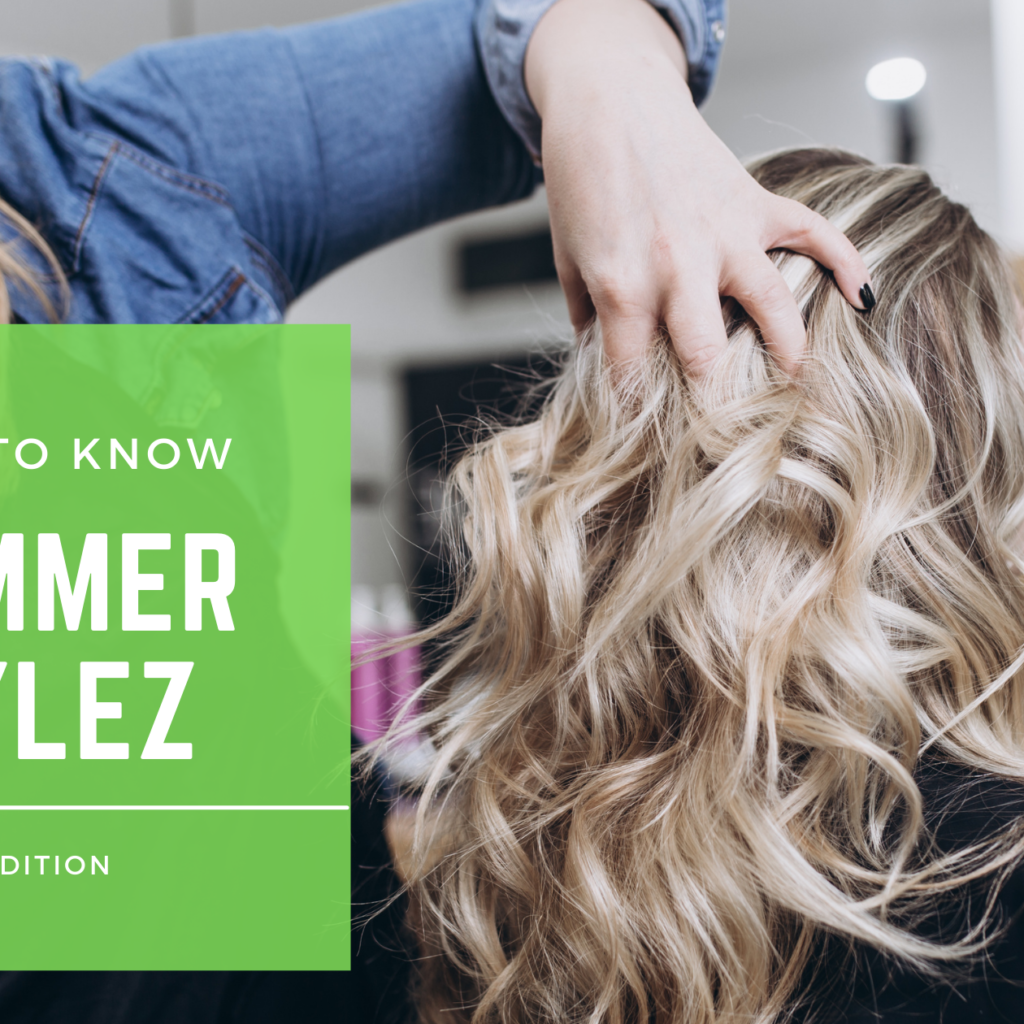 hairdresser styling the hottest trends, a beautiful blonde balayage in the salon, in the summer 2021